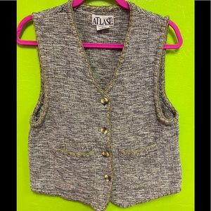 At Last & Co Vest Raw Cotton Buttons Pockets S-M